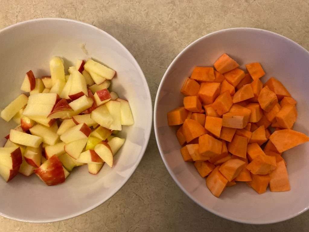 cut apples and sweet potato
