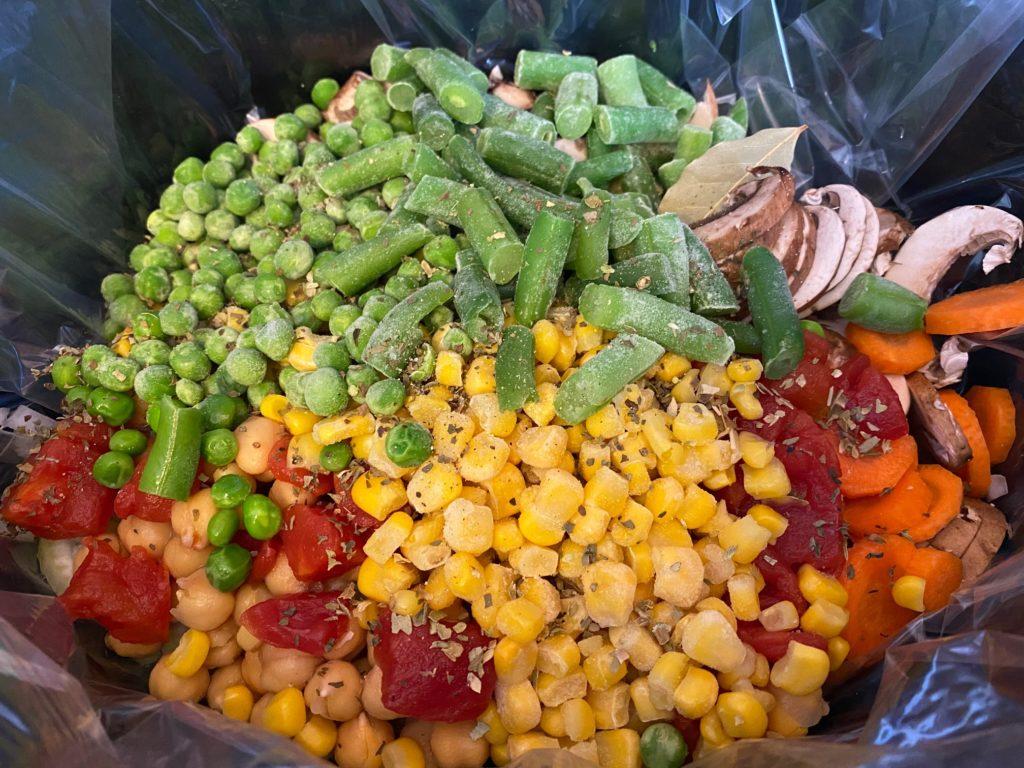 add veggies in crockpot