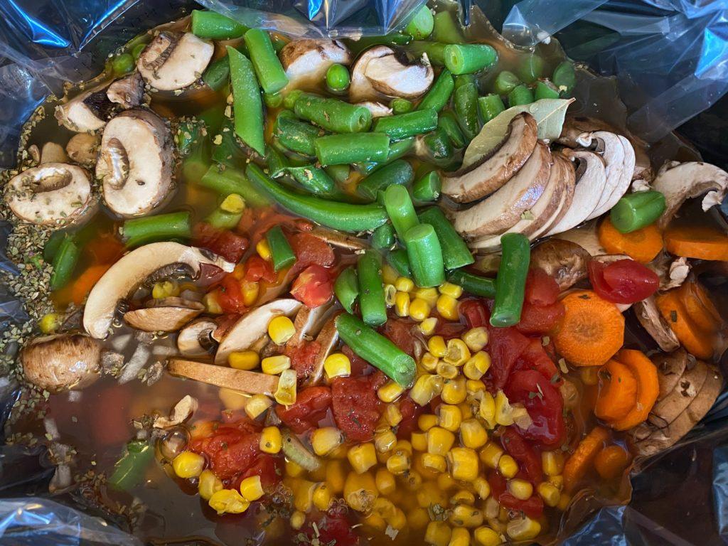 Vegetable Barley Soup in crockpot