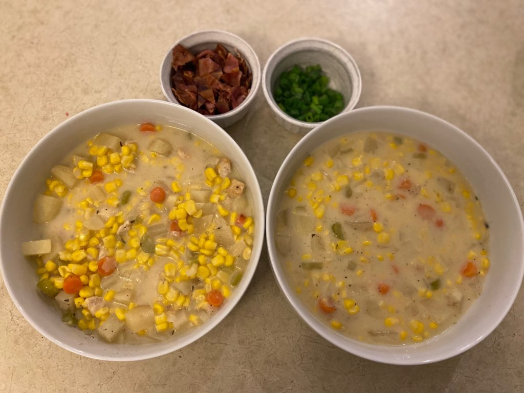 Crockpot Corn Chowder with toppings