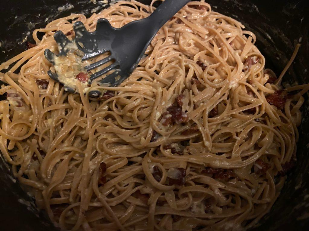 Bacon Pasta Carbonara cooking