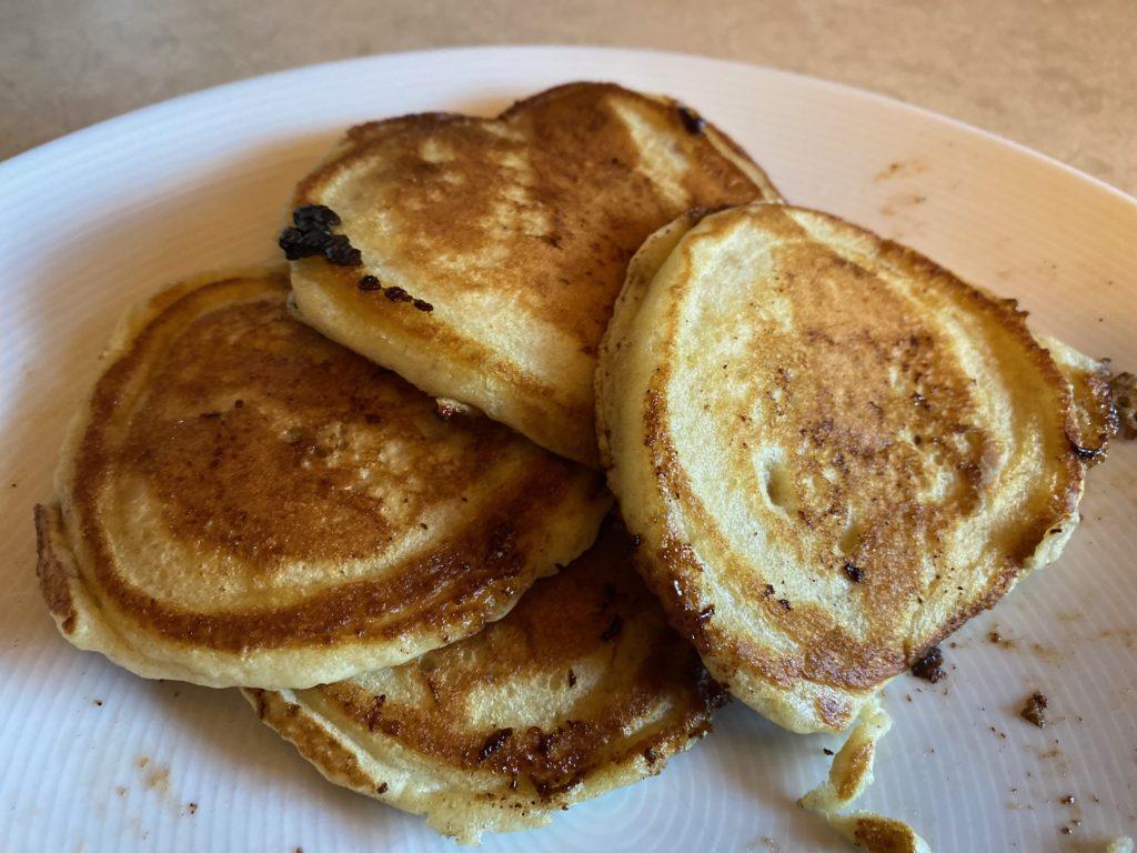 Cinnamon roll pancakes stack